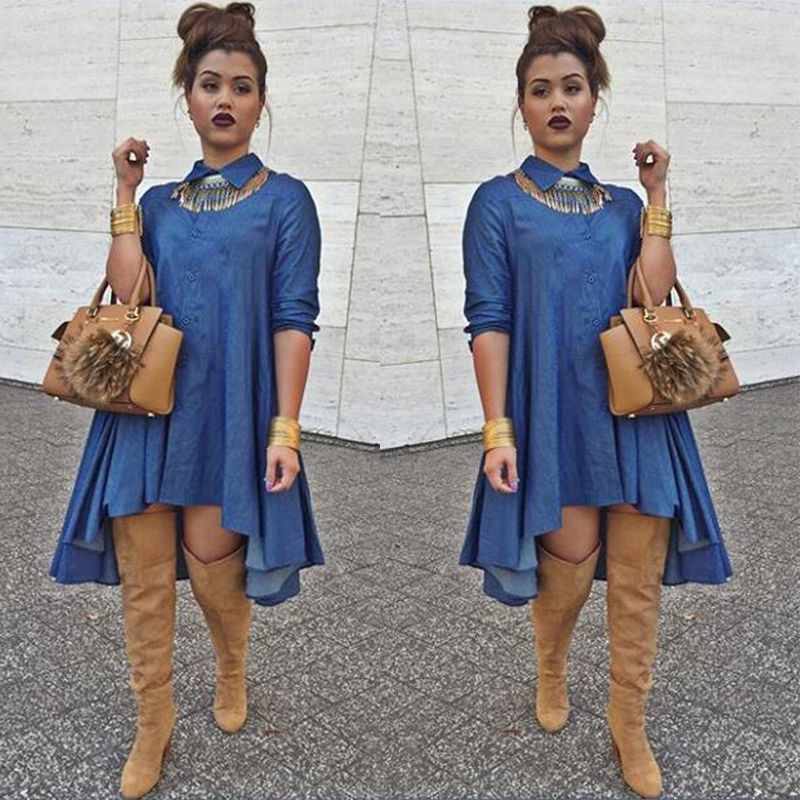 Womens Fashion Slim Fit Denim Blue Jean Dress Irregular Long ...