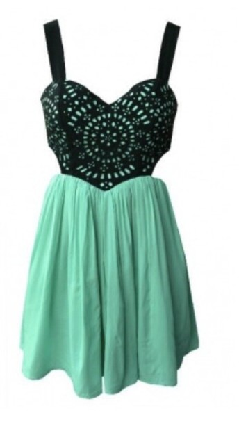 Dress: black, pattern, cut-out, green, teal, turquoise, short ...