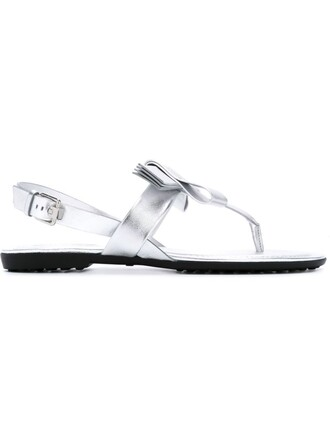 bow metallic women sandals leather grey shoes