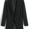 Black lapel long sleeve covered button blazer - sheinside.com