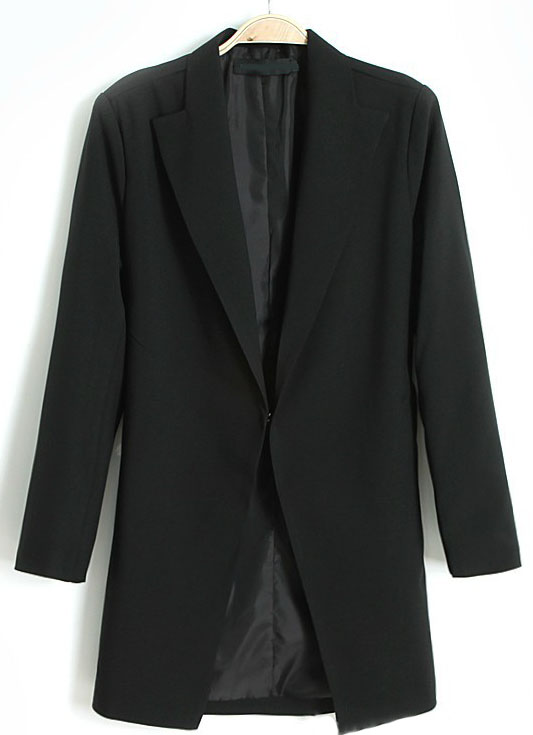 Black lapel long sleeve covered button blazer