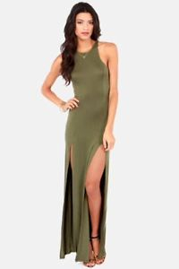 Stem Spells Army Green Racerback Maxi Dress Sexy Slit Stretch Fitted | eBay