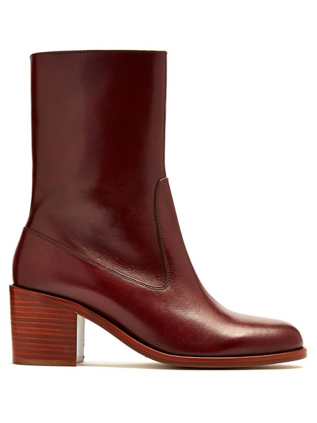 A.P.C. leather ankle boots ankle boots leather burgundy shoes