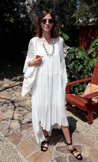 dress white boho dress alexa chung sandals necklace sunglasses