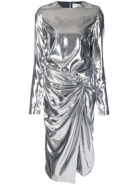 Saint Laurent dress metal women silk grey