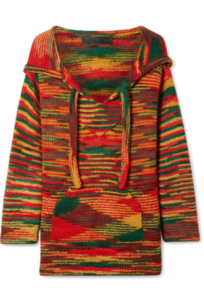 The Elder Statesman - Baja Hooded Cashmere Sweater - Red