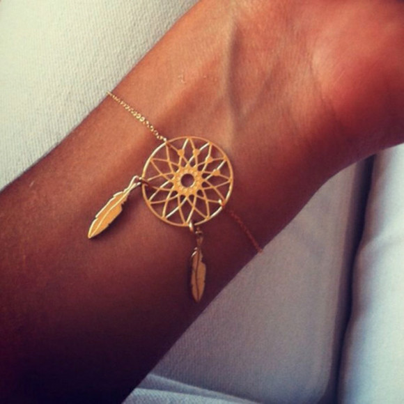 feathers jewels dreamcatcher gold bracelets