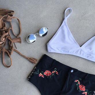 swimwear bikini bottom ghost rider embroidered hot pant high waisted shorts festival rodeo belt loops black red white floral spanish nastygal outfit two-piece sunglasses