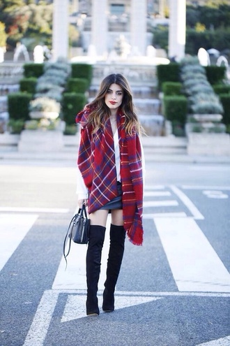 boots black boots over the knee plaid no heal scarf shoes red streetstyle thigh high boots fall outfits blanket scarf