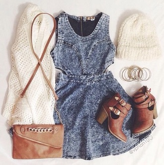 dress denim dress denim cute tumblr tumblr outfit cicihot