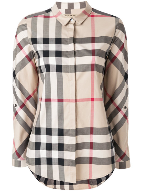 Burberry shirt women spandex nude cotton top