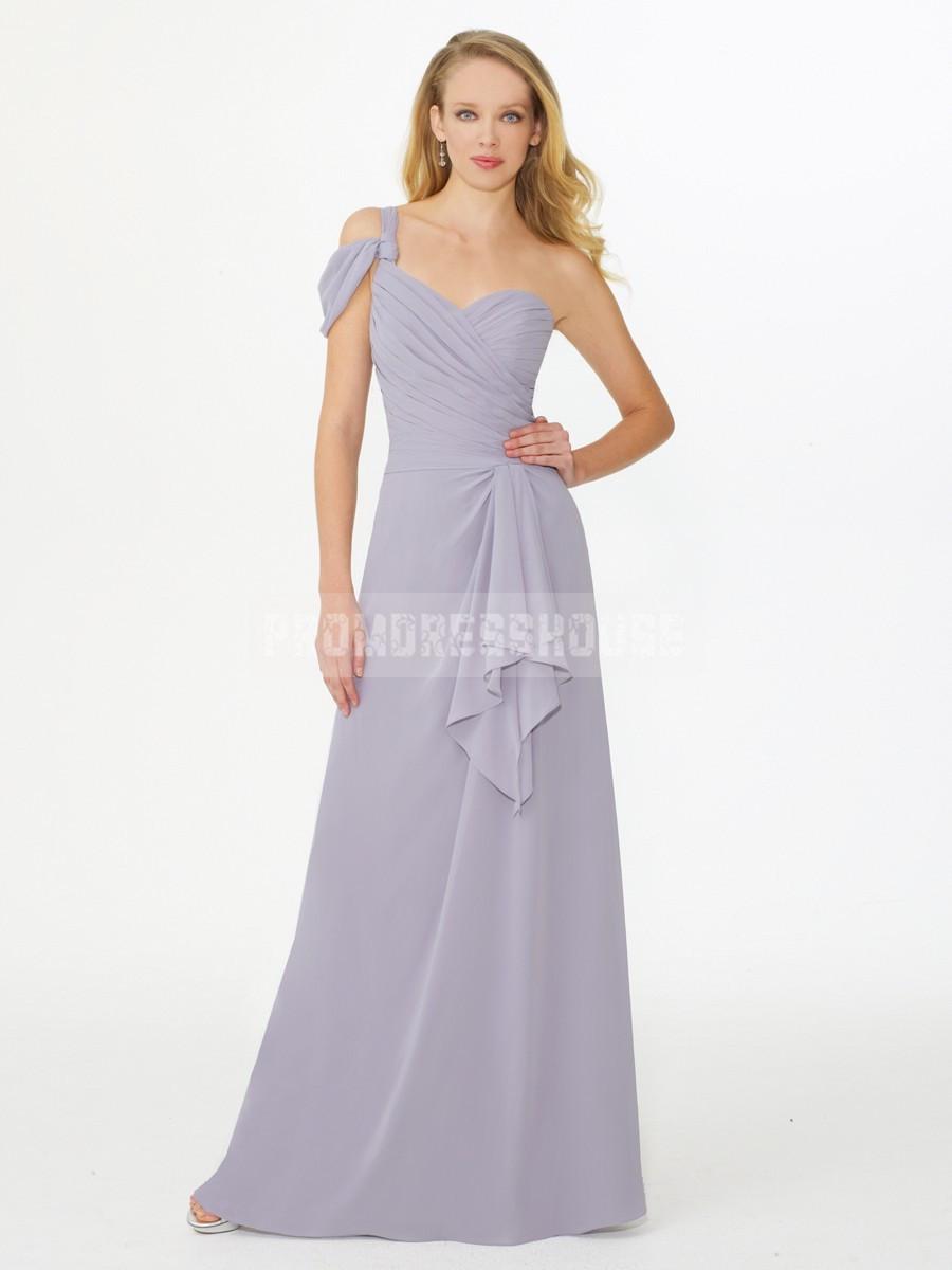 Chiffon Graceful Lavender A-line Ruffles One Shoulder Floor Length Bridesmaid Dress - Promdresshouse.com