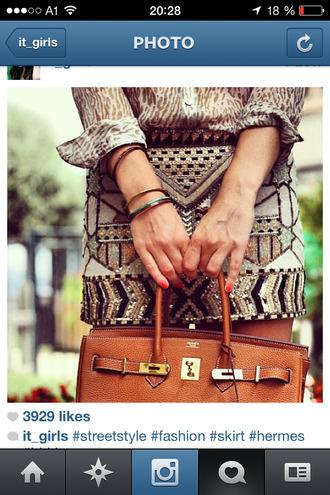 skirt jewels bag brown skirt beige skirts