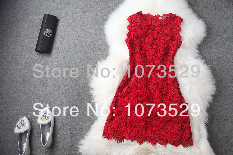 Desigual Luxury Summer Dress 2014 Red Embroidery Flowers Eucken Wedding Vestidos De Fiesta Special Occation Gowns Tank Dresses-in Apparel & Accessories on Aliexpress.com