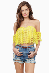 top,tobi,yellow,crochet,crop tops,cute,trendy,ripped shorts,shorts,boh,off the shoulder top,off the shoulder