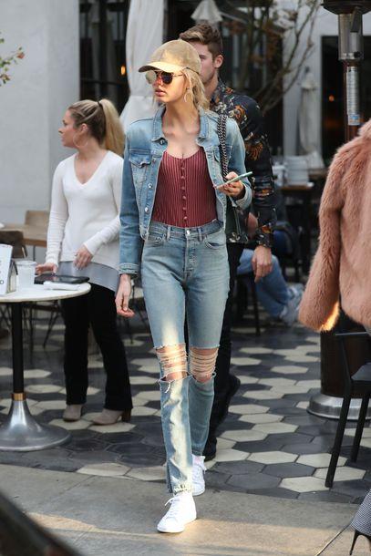 top jacket denim jacket denim sneakers romee strijd streetstyle fall outfits