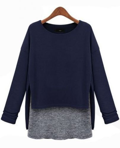 Blue Long Sleeve Contrast Asymmetrical Loose T-Shirt - Sheinside.com