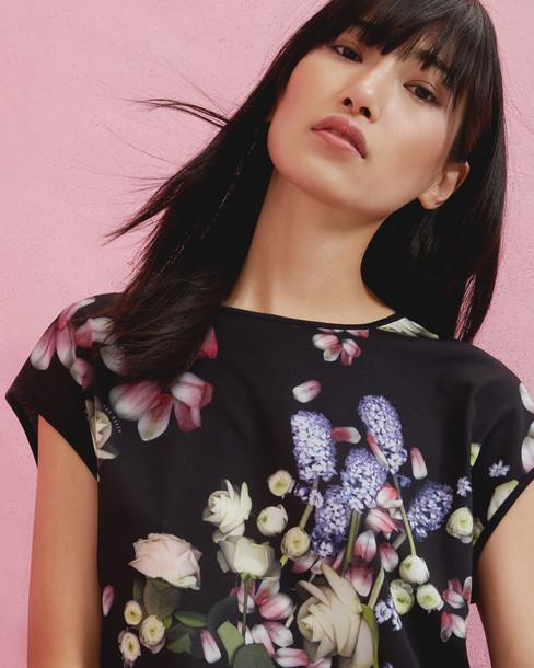 t-shirt shirt t-shirt floral black top