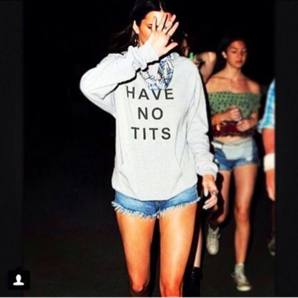 sweater sweater t-shirt shirt blouse tits kendall jenner fashion boobs boobs shirt