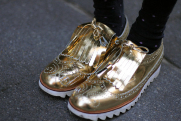 gold shoes oxfords