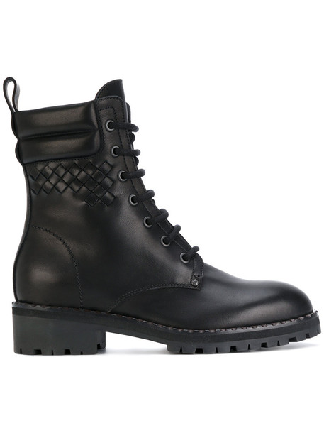 women chunky boots lace leather black shoes