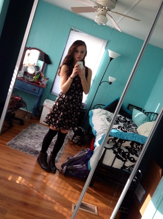 dress flowers pink flowers hipster thigh highs indie hippie chic shoes