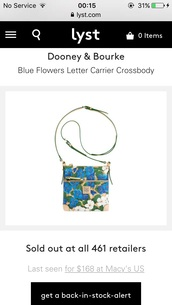 bag,floral,dooney & bourke,crossbody bag,pansy,blue,flowers