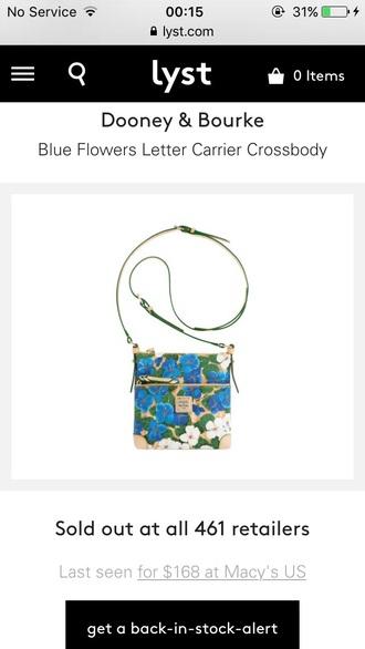 bag floral dooney & bourke crossbody bag pansy blue flowers