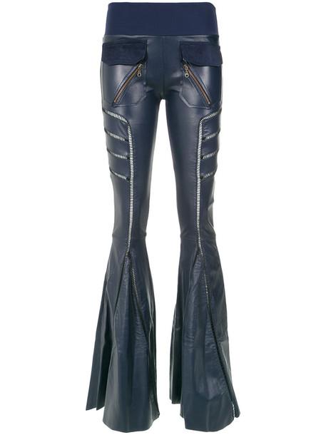 Andrea Bogosian women spandex leather blue pants