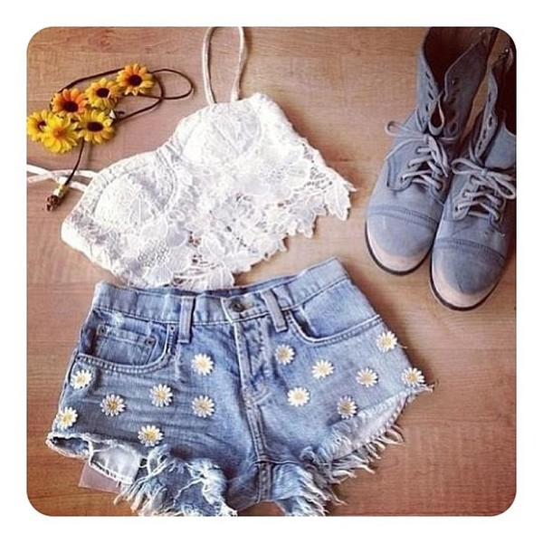 shorts daisy daisies jean shorts high waisted denim shorts blouse shoes nail polish hat
