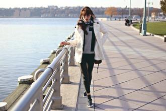 shoes sweater sunglasses blogger bag natalie off duty coat pants scarf