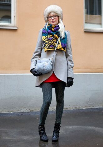 hat white fur hat white hat fur hat coat grey coat skirt mini skirt tights opaque tights boots ankle boots black boots high heels boots scarf bag blue bag crossbody bag gloves leather gloves winter outfits winter look glasses