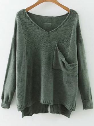 sweater green fall outfits long sleeves trendy winter outfits fall sweater winter sweater sheinside