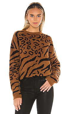 Line & Dot Alee Sweater in Camel & Black from Revolve.com