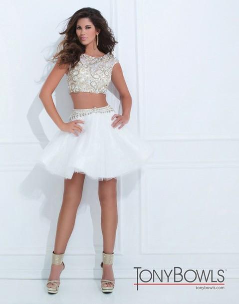 dress, prom dress, cream prom dress, sequin dress, gold sequins ...