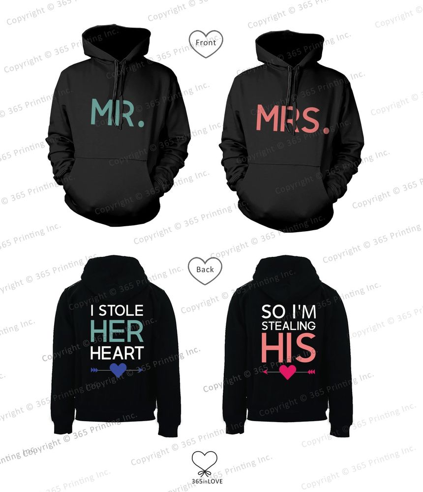 Mr and Mrs Matching Couple Hoodies - I Stole Her Heart, So I'm Stealing His