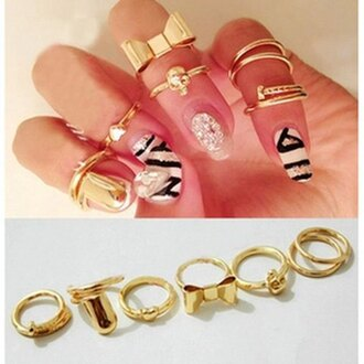 jewels ring kawaii cute gold heart bows