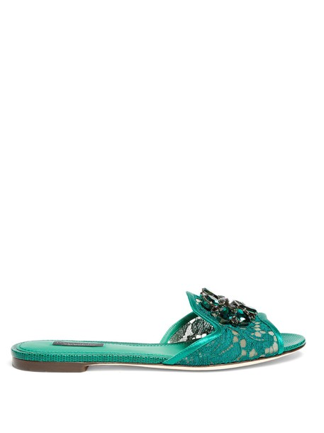 Dolce & Gabbana embellished lace green shoes