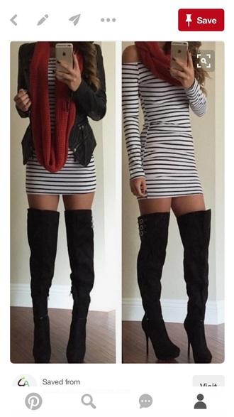 dress striped dress long sleeves mini dress knee high boots jacket scarf