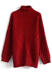 sweater,oversized turtleneck sweater in red,chicwish,red