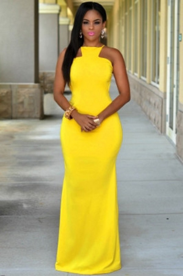 Dress Yellow Maxi Maxi Cocktail Dress Wots Hot Right