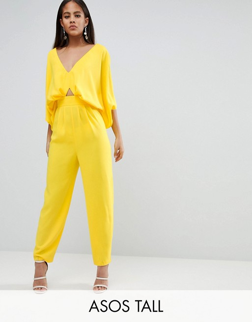 ASOS DESIGN Tall Jumpsuit With Kimono Sleeve And Peg Leg at asos.com
