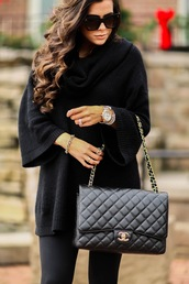 sweater,tumblr,black sweater,turtleneck,turtleneck sweater,oversized turtleneck sweater,oversized sweater,oversized,bag,black bag,quilted bag,chain bag,watch,sunglasses,black sunglasses,leggings,black leggings
