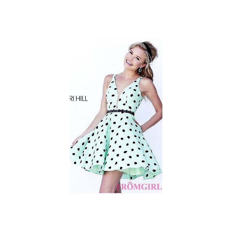 SH-32238 - Short V-Neck Polka Dot Dress by Sherri Hill - Bonny Evening Dresses Online