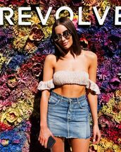 top,bikini top,coachella,coachella outfit,denim skirt,olivia culpo,skirt