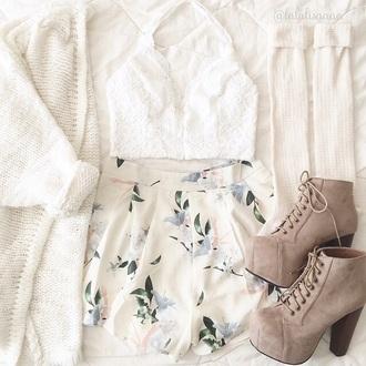 cardigan cream sweater cute sweater shorts