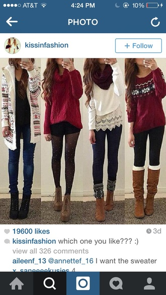 jeans sweater boots top white red leggings tights cute cute top oversized sweater cardigan booties women boot cuffs shirt white top red sweater christmas sweater christmas outfit skinny jeans blue jeans