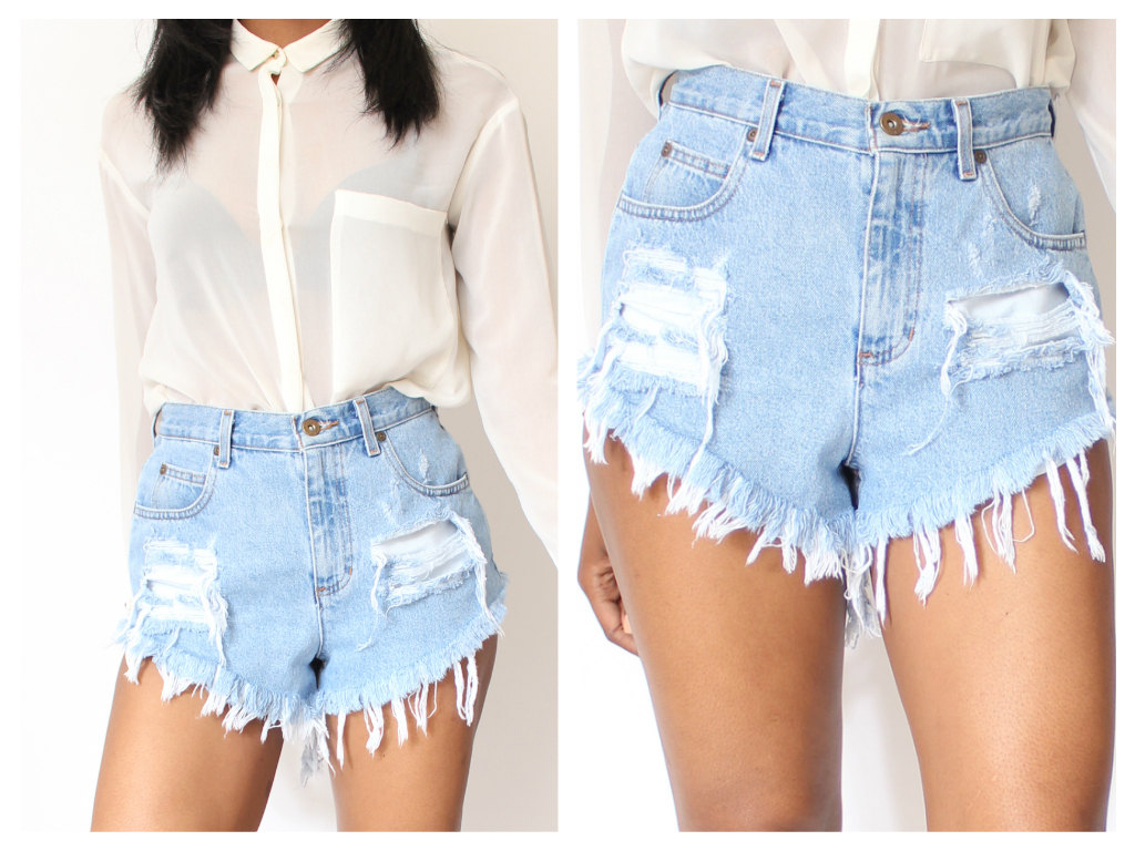 Made Destroyed Dirty Ripped Distress Daisy Dukes High Waist Shorts ...