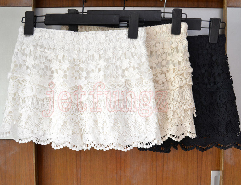Women crochet floral tiered lace elastic waist shorts pants mini skort skirt s~l