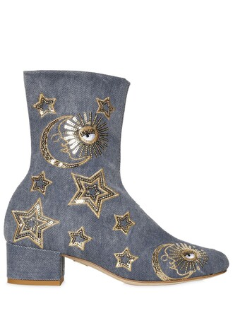 denim boots ankle boots stars shoes